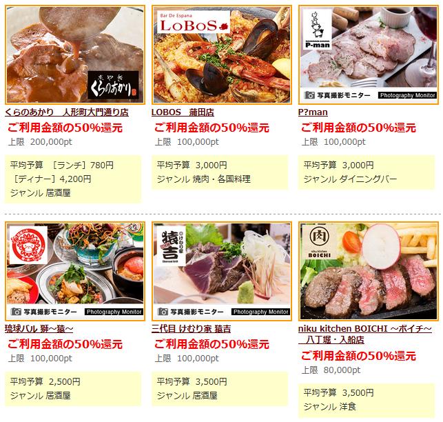 それぞれの店舗ごとに、料理の写真と還元率の説明があります。