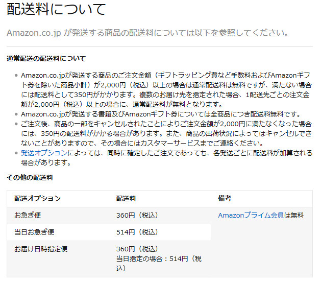 amazonの送料が改定となり、2000円未満の会計では350円が必要になります。