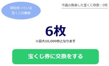 現在の宝くじ券の枚数が表示される。