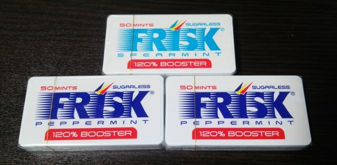 フリスク120%BOOSTERを3つ。