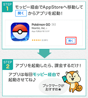 モッピーからappstoreに移動して、アプリが起動したら課金するだけ。